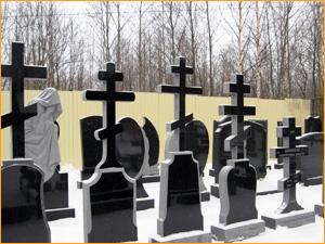 Памятники из черного гранита с крестом