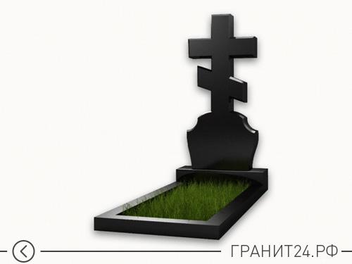 Памятник из гранита с большим крестом