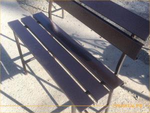 Фото сварной скамейки со спинкой бронзового цвета