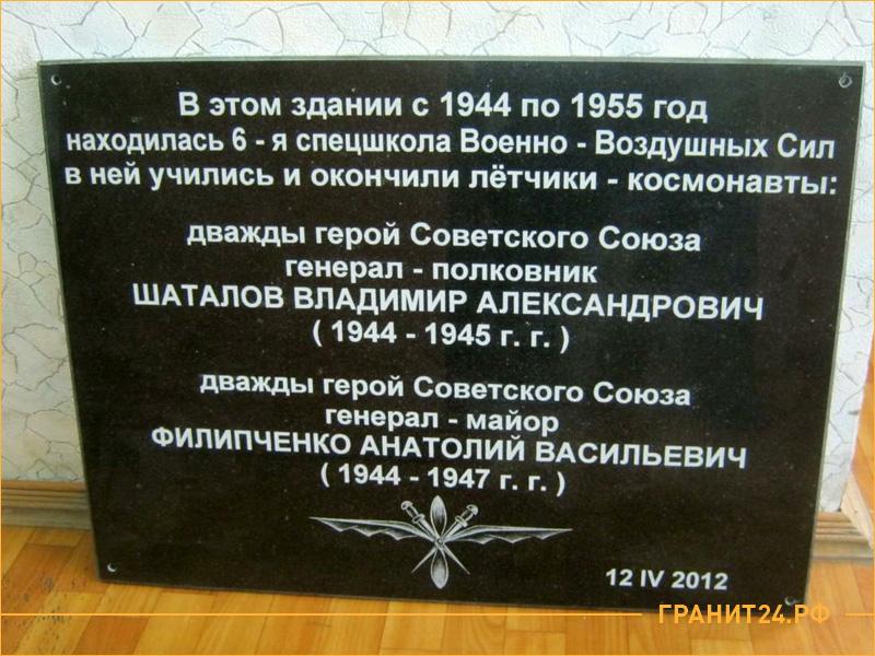 Мемориальная табличка из черного гранита с текстом и изображением
