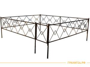 Оградка сварная №9 с калиткой, рисунок ромб, столб 20х20