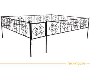 Сварная оградка №10 с узорами и калиткой, столб 20х20