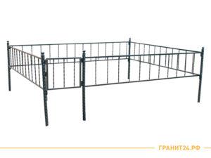 Сварная оградка №12 с калиткой и витой столбик 40 мм