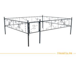 Ограда сварная №13 с калиткой и витой ножкой 40 мм