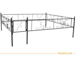 Оградка сварная №14 с калиткой и витой столбик 40 мм