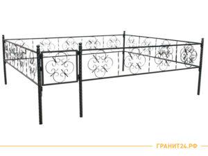 Ограда №15 черного цвета с калиткой, узор цветочек, столб витой 40 мм