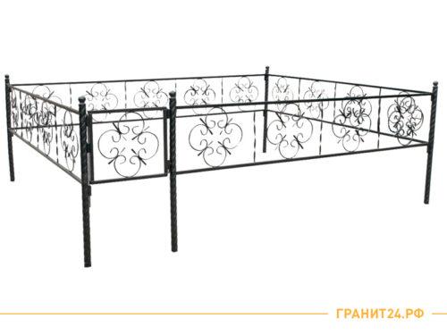 Ограда №15 черного цвета с калиткой, узор цветочек