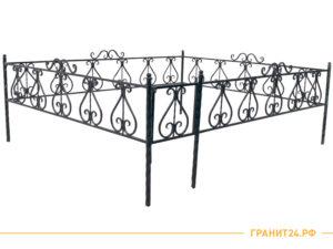Оградка квадратная №19 с элементами ковки, столб 40 мм
