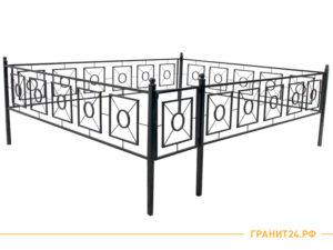 Оградка сварная №20 с калиткой и квадратным рисунком, столб 40х40
