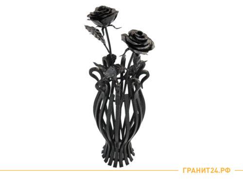 Ваза кованая №1 с розами из металла
